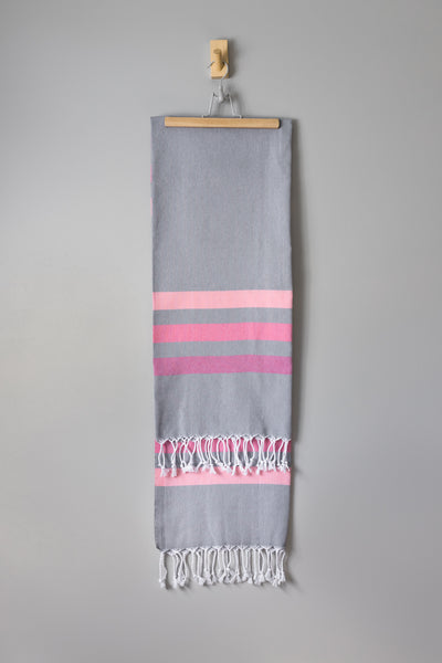 Yeliz Stripe Hammam Towel | Grey Pink