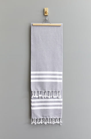 Esra Stripe Hammam Towel | Grey