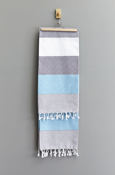 Feza Stripe Hammam Towel | Grey Blue White