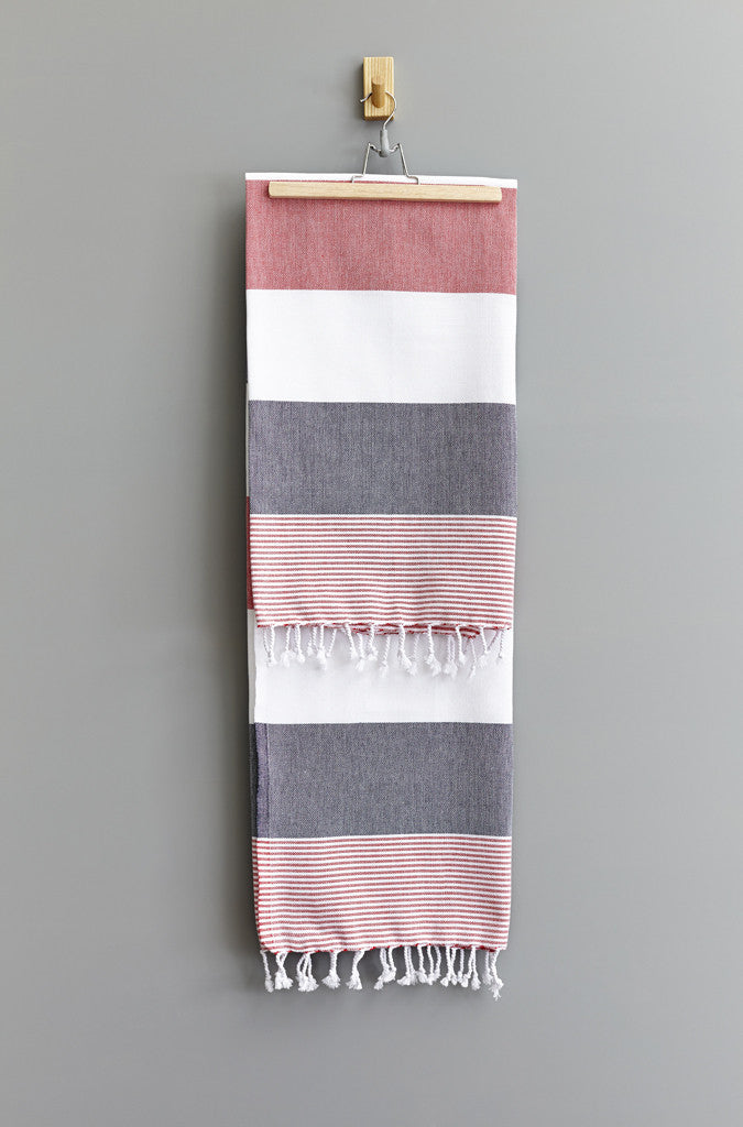 Feza Stripe Hammam Towel | Indigo Red White