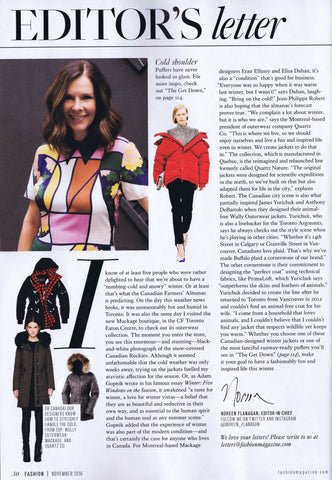 Wully Outerwear November 2016 Fashion Magazine Press