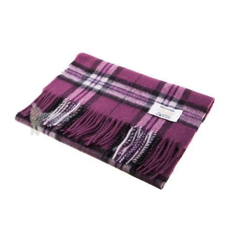 Purple Lambswool Check Scarf