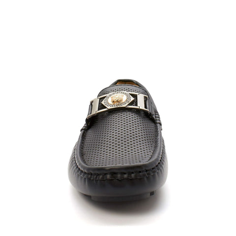 Black Lion Buckle Loafers