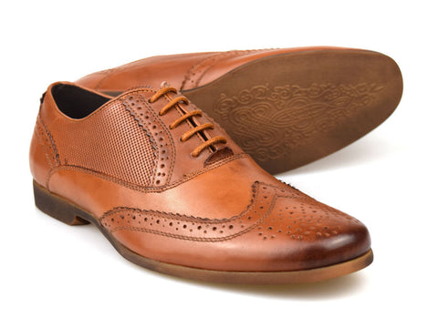 Tanned Leather Patterned Stylish Brogues