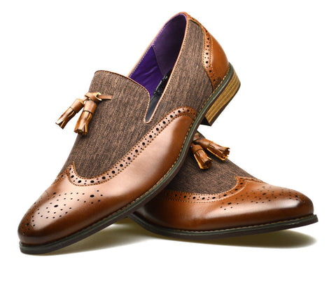 Brown Two Tone Tassel Loafers