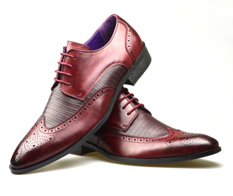 Burgundy Patterned Shoes