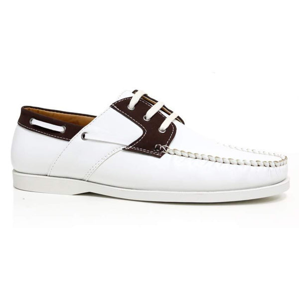 White Lace Up Boat Shoes