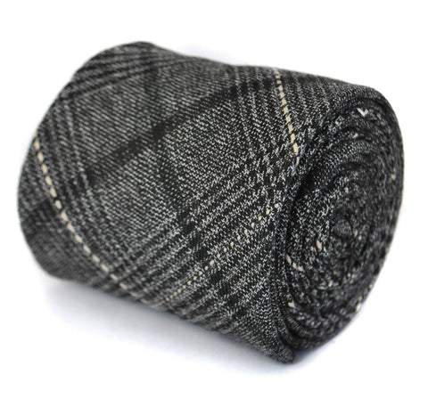 Black & Grey Check Wool Tie