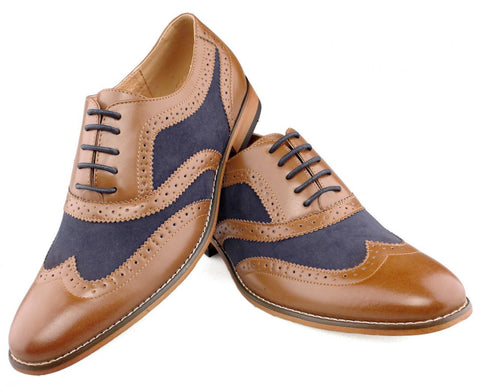 Brown & Navy Two Tone Brogues