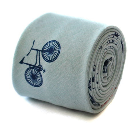 Turquoise Linen Bicycle Tie
