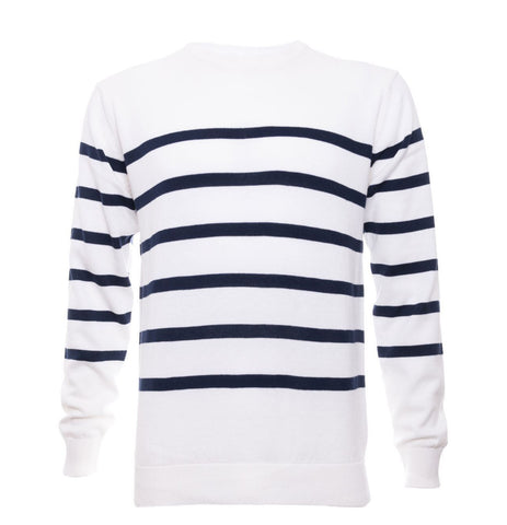 White Striped Crew Neck