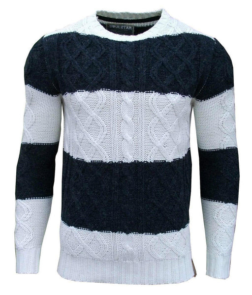 Striped Crew Neck Cable Knit Jumper