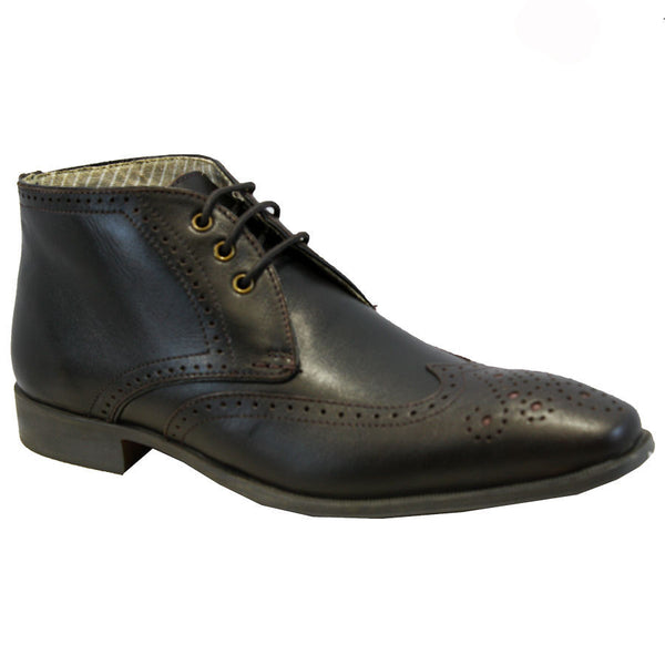 Coffee Leather Ankle Brogue Boot