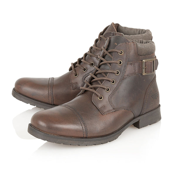 Dark Brown Leather Military Styled Boot