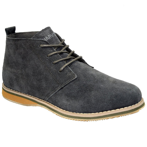 Grey Suede Ankle Lace Up Boots