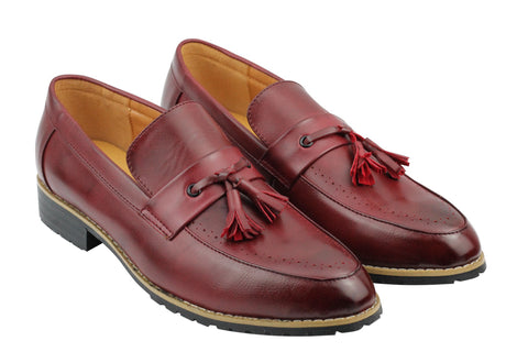 Oxblood Leather Tassel Penny Loafers