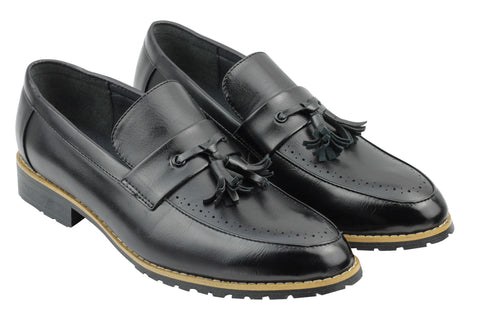 Black Leather Tassel Penny Loafers