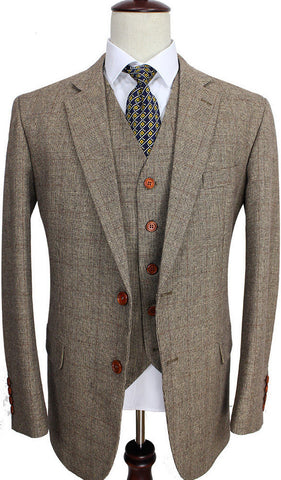 Light Brown Prince of Wales Check Suit