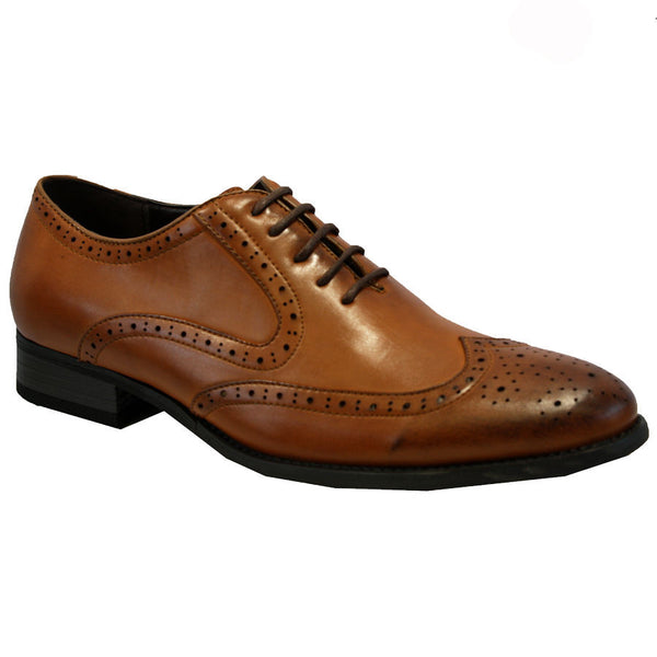 Tanned Brogue Patterned Smart Shoe