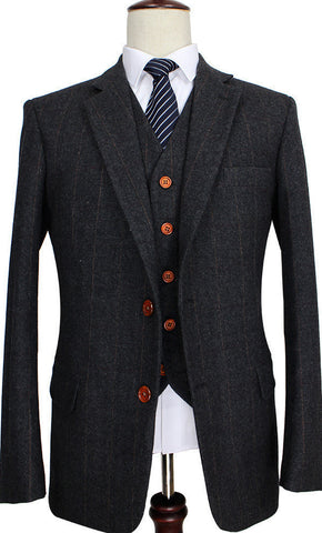 Charcoal Grey Pin Stripe Suit