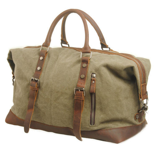 Green Canvas Leather Weekend Bag