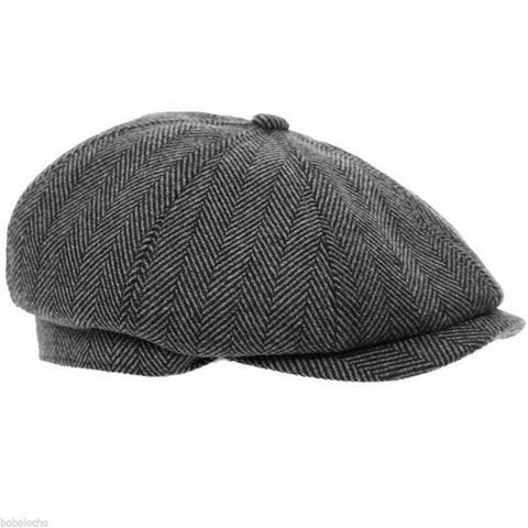 Black Herringbone Tweed Flat Cap