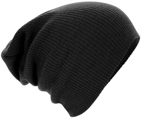 Black Knitted Woolly Beanie