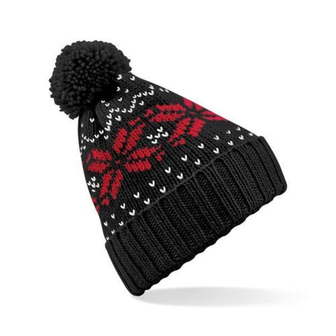 Black Snowflake Beanie Hat & Bobble