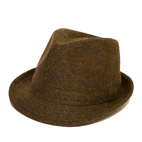 Brown Check Tweed Trilby Hat
