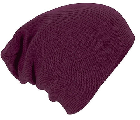 Burgundy Knitted Woolly Beanie