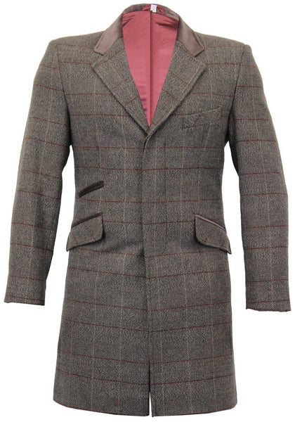 Grey Windowpane Tweed Coat