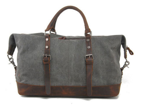 Grey Canvas Leather Weekend Bag