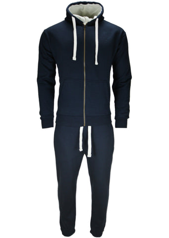 Navy Hooded Fleece Top & Bottoms