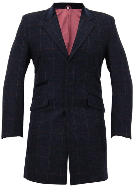 Navy Checked Woolen Trench Coat