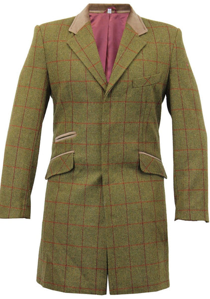 Olive Checked Woolen Trench Coat