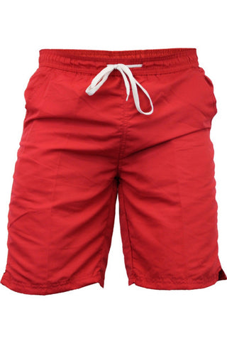 Red Knee Length Swimming Shorts