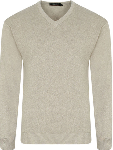 Beige V Neck Jumper