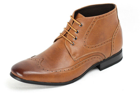 Tan Brogue Ankle Boots