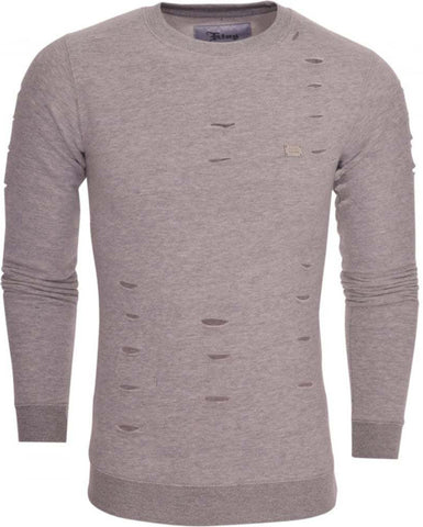 Ripped Grey Crew Neck Jumper