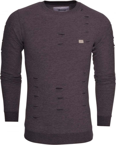 Ripped Charcoal Crew Neck Jumper