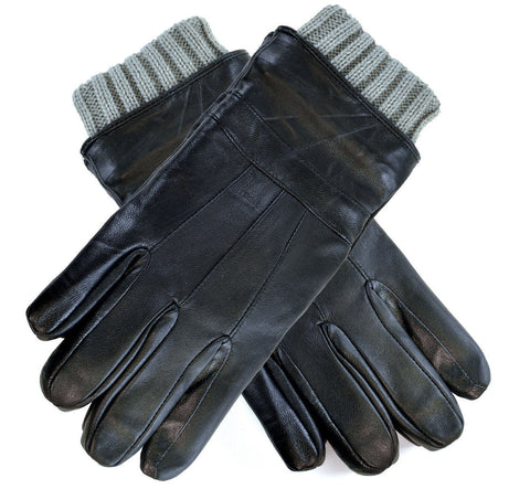 Luxury Soft Leather & Knitted Cuff Warm Gloves