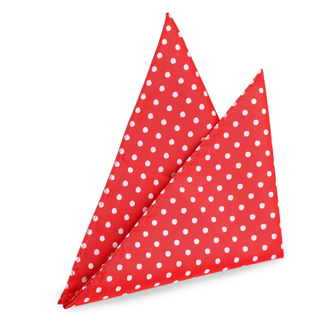 Scarlet Red Dotted Pocket Square