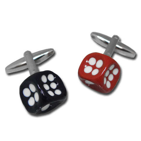The British Belt Company | Red & Navy Dice Cufflinks - Man Cave