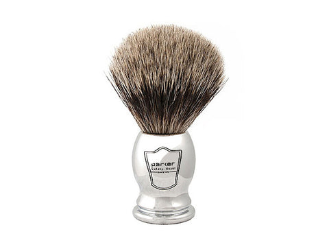 Parker Chrome Handled Pure Badger (CHPB) Shaving Brush - Man Cave