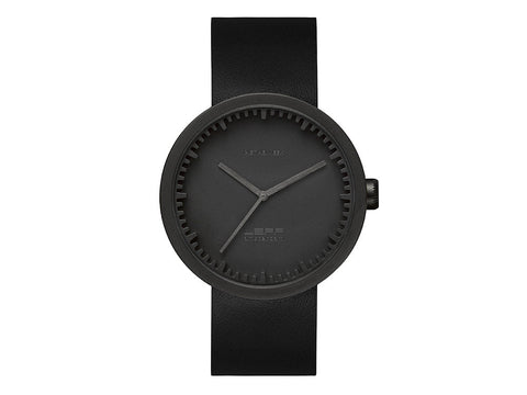 LEFF | amsterdam Tube Watch D42 | Matt Black Black Leather Strap - Man Cave - 1
