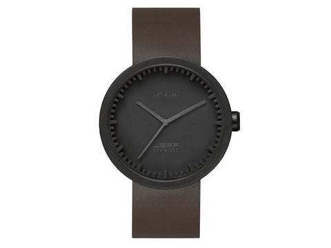 LEFF | amsterdam Tube Watch D42 | Matt Black Brown Leather Strap - Man Cave - 1