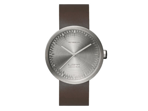 LEFF | amsterdam Tube Watch D42 | Silver Brown Leather Strap - Man Cave - 1