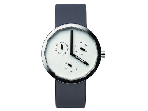Issey Miyake  | TWELVE Light Grey Dial Blue Leather Men's Watch | NY0P051Y - Man Cave