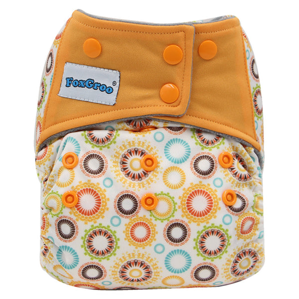 FoxGroo All in One Cloth diaper,Grapefruit sewn with 3 layers microfiber insert
