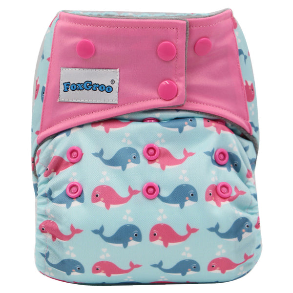 FoxGroo All in One Cloth diaper,Dolphin sewn with 3 layers microfiber insert